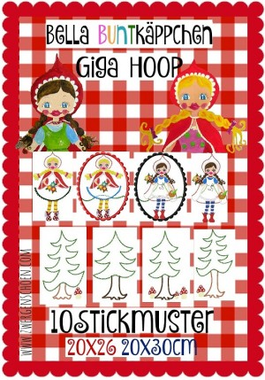 ♥BELLA BUNTKaePPCHEN♥ Embroidery FILE-Set GIGA HOOP litte red 18x30 20x26cm