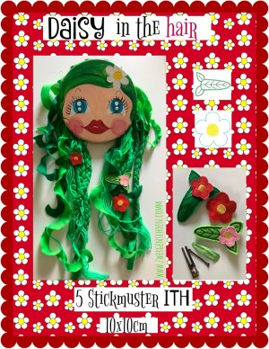 ♥DAISY in the HAIR♥ Stickdatei ITH 10x10cm Haarschmuck BLUMEN