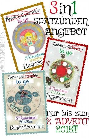 ♥SPÄTZÜNDER-ANGEBOT♥ Adventskranz TO GO 3in1 IN THE HOOP 20x20cm