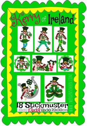 ♥KERRY of IRELAND♥ Stickmuster LEPRECHAUN