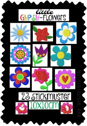 ♥little GYPSY-Flowers♥ Stickmuster BLUMEN Boho HIPPIE 10x10cm