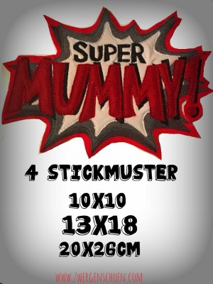 ♥SUPER MUMMY♥ 1€-SPARbie STICKMUSTER 10x10 13x18 20x26cm