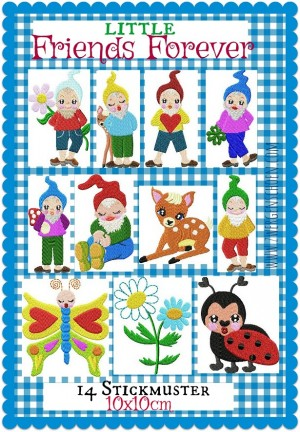 ♥little FRIENDS FOREVER♥ Embroidery-FILE-Set DWARF gnome 10x10cm