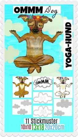 ♥OMMM Dog♥ Stickmuster YOGAHUND 10x10 13x18 20x20cm