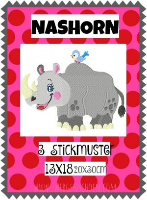 ♥RHINO♥ Embroidery FILE 13x18 20x30cm