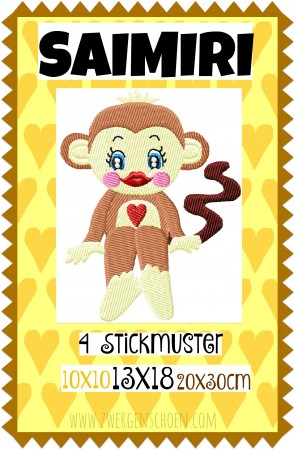 ♥SAIMIRI♥ Embroidery-File MONKEY 10x10 13x18 20x26cm
