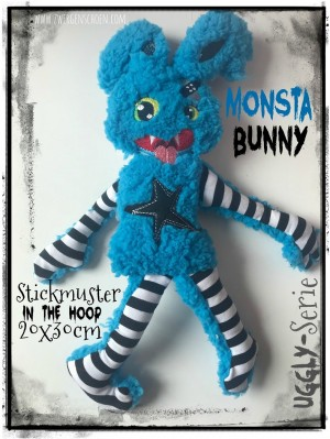 ♥MONSTA Bunny♥ Stickmuster ITH 20x30cm UGGLY SERIE