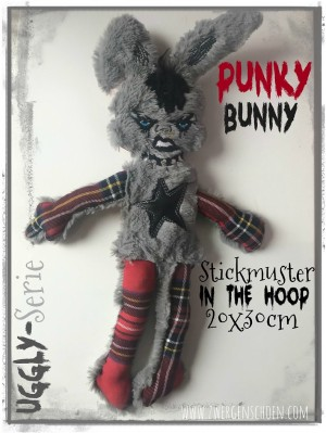 ♥PUNKY Bunny♥ Stickmuster ITH 20x30cm UGGLY SERIE