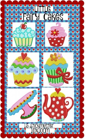 ♥little FAIRY CAKES ♥sweet KITCHEN-Embroidery SET 10x10cm