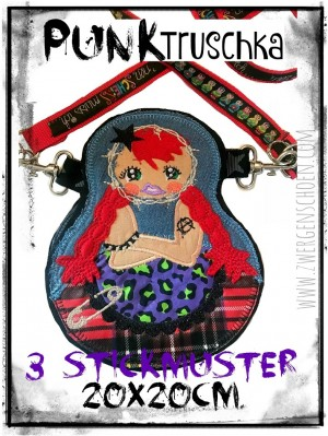 ♥PUNKtruschka♥ Embroidery FILE-Set RUSSIAN DOLL Punk 20x20cm