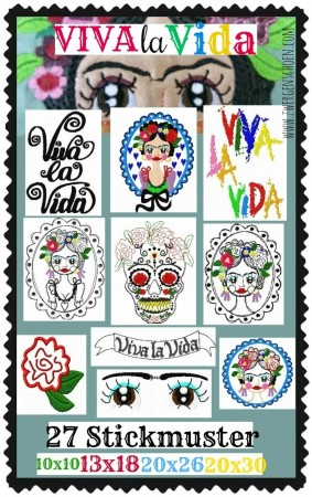 ♥VIVA LA VIDA♥ EMBROIDERY Artwork MEXICO 10x10 13x18 20x20 20x26 18x30cm