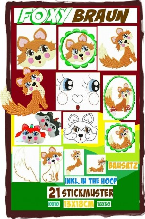 ♥FOXY BRAUN♥ Embroidery File-SET Fox ITH 10x10, 13x18,18x30cm