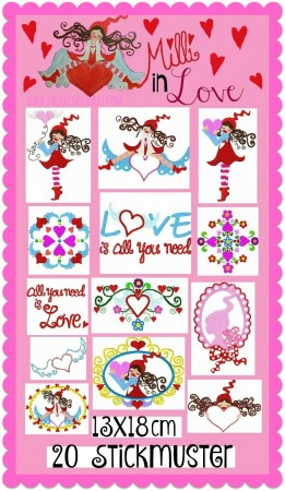 ♥MILLI in LOVE♥ Embroidery File-Set 13x18cm