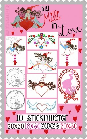 ♥big MILLI in LOVE♥ Embroidey FILE-SET 20x20 18x30 20x26 20x30cm