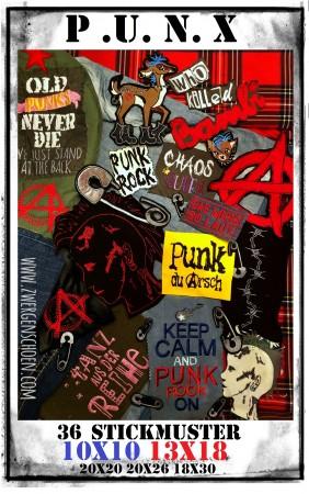 ♥PUNX♥ Stickmuster PUNKS XXL 10x10 13x18 20x20 20x26 18x30cm