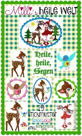 ♥MILLI`s IDYLLIC WORLD♥ Embroidery File-Set 10x10 13x18 BON