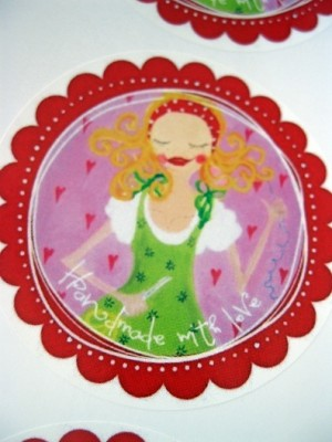 ♥HANDMADE WITH LOVE♥ Aufkleber ROSIE Sticker 20Stck