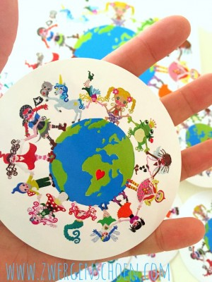 ♥ONE♥ Sticker 9cm SAVE OUR PLANET white GROUND