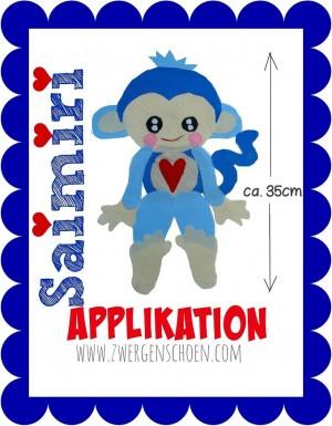 ♥SAIMIRI♥ Applikation LIEBlingsÄFFCHEN Blue Monkey OHNE STICKMASCHINE