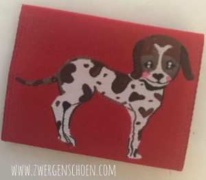 ♥PUPPY on RED♥ WOVEN LABEL 5x5cm DOG PUPPY Label