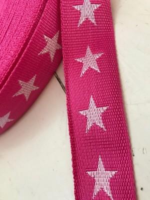♥GURTBAND SuperSTARs♥ Sterne PINK 4cm METERWARE