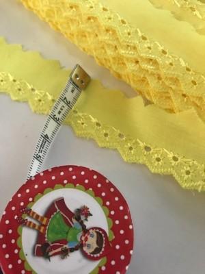 ♥WÄSCHESPITZE♥ gelb LINGERIE Baumwolle SPITZENBORTE 2.5cm