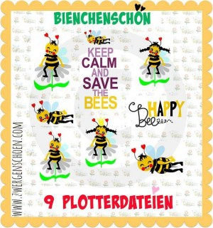 ♥BEE PLOTT♥ Plotter FILE Queen of Bees 9 FILES SVG, DFX, JPG