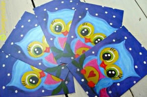 ♥BUNTschuhu♥ sweet OWL ROsalie postcard SET of 3