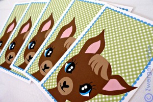 ♥TRUSTY♥True Blue LOVE-DEER postcard-SET 3