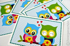 ♥SWEET OWLS♥Postcard-SET of 3