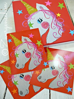 ♥UNIQUEhorn♥unicorn POSTCARD-SET of 3 it`s MAGIC