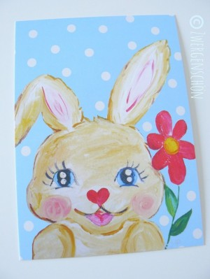 ♥HAPPY BUNNY♥ skyblue POSTCARD-SET of 3