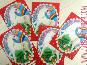 ♥UNICORN♥ Postcard SET of 5 red LANDSCAPE Wonderland