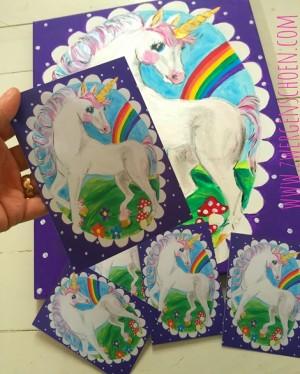 ♥EINHORN♥ Unicorn ECHThörnchen POSTKARTEN-SET 5Stk LILA