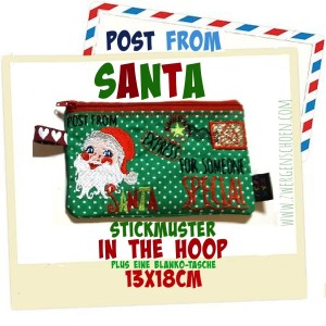 ♥POST from SANTA♥ Stickmuster TASCHE Weihnachtspost ITH 13x18cm