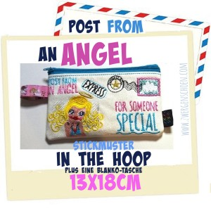 ♥POST from an ANGEL♥ Stickmuster TASCHE Grußpost ITH 13x18cm