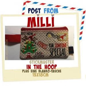 ♥POST from MILLI♥ Stickmuster TASCHE Weihnachtspost ITH 13x18cm