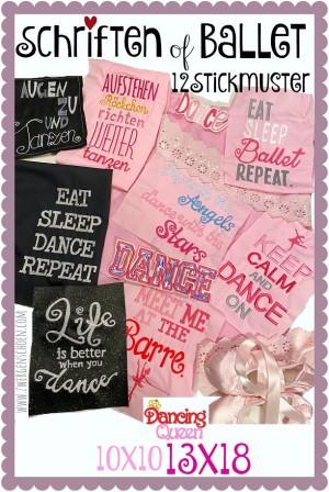 ♥SCHRIFTEN of BALLET♥ Stickmuster TANZEN Sprüche 10x10 13x18cm