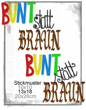 ♥BUNT statt BRAUN♥ 1€-SPARbie STICKMUSTER 10x10 13x18 20x26cm