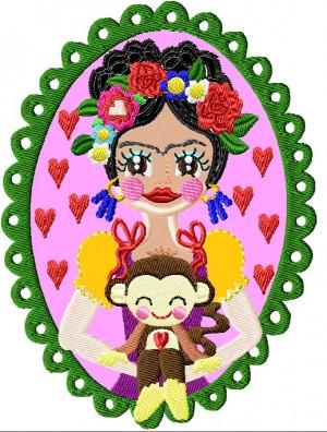♥VIVA los ANIMALES Saimiri♥ STICKMUSTER Affe FLOWER girl