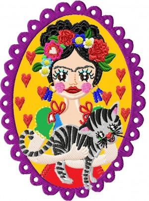 ♥VIVA los ANIMALES Miau♥ STICKMUSTER Katze FLOWER girl