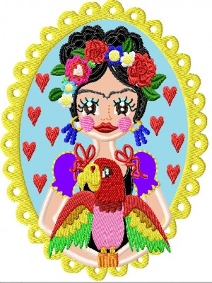 ♥VIVA los ANIMALES Papagei♥ STICKMUSTER Parrot FLOWER girl