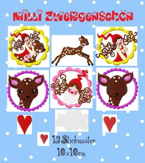 MILLI ZWERGENSCHOEN in the sky 10x10 EMBROIDERY FILE