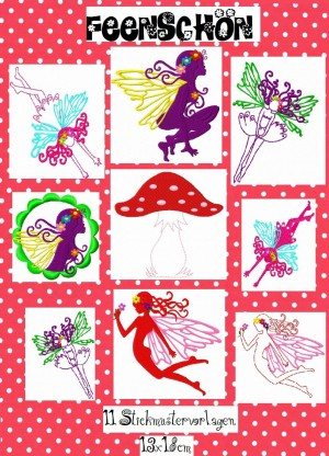 ♥FEENschoen♥fairy SILHOUETTEs embroidery 13x18