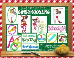 ♥MILLI goes SCHOOL♥embroidery file-set 13x18 BONUS g