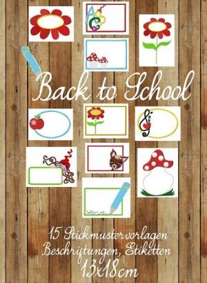 ♥BACK to SCHOOL♥ Stickmuster ETIKETTEN Label 13x18cm