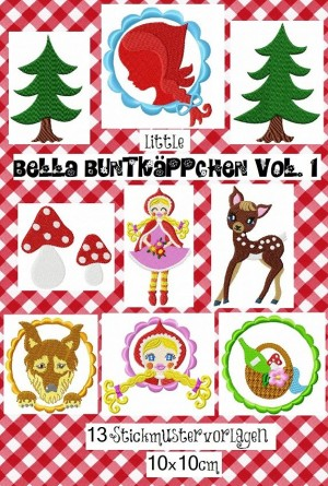 ♥little BELLA BUNTKaePPCHEN♥little RED 10x10cm Embro