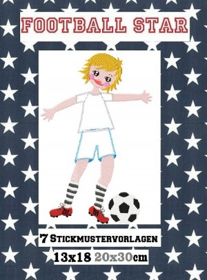♥FOOTBALLSTAR♥ Embroidery FILE 13x18cm 20x30cm