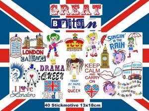 ♥GREAT Britain♥LONDON Embroidery FILE set 13x18cm