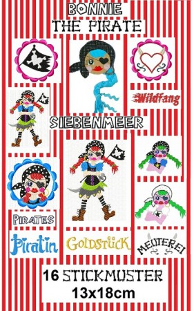 ♥BONNIE the PIRATE Siebenmeer♥ Stickdatei inkl. GIGA HOOP